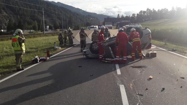 Unfall auf der Ennstal Bundesstraße (Bild: FF Radstadt)