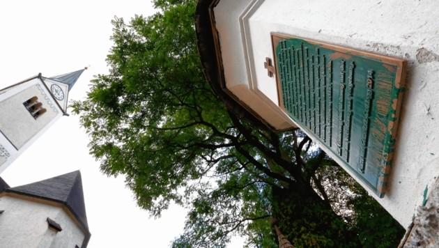 Im Friedhof Goldegg wurden zwei Gedenktafeln mit Farbe beschmiert (Bild: GERHARD SCHIEL)