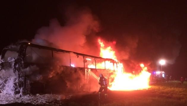 Der polnische Reisebus stand binnen Minuten lichterloh in Flammen. (Bild: FF Oberwang)