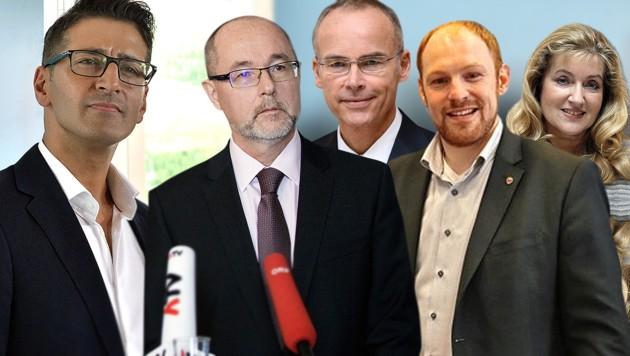 Von links: Efgani Dönmez, Christoph Vavrik, Marcus Franz, Dominik Schrott, Susanne Winter (Bild: APA/GEORG HOCHMUTH, Cristof Birbaumer, APA/HELMUT FOHRINGER, APA/HERBERT PFARRHOFER, krone.at-Grafik)