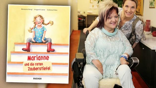 """Links: Das neue Kinderbuch """"Marianne und die roten Zauberstiefel"""". Rechts: RollOn-Obfrau Marianne Hengl mit Barbara Stöckl (Bild: Klemens Groh, BUCHER Verlag, krone.at-Grafik)"""