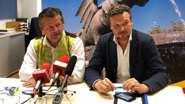 Stadtrat Christian Scheider (li.) und 2. Vizebürgermeister Wolfgang Germ. (Bild: Christian Rosenzopf)