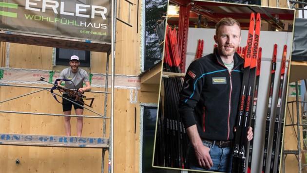 Simon Eder auf seiner Baustelle und mit neuem Material. (Bild: Christoph Nister, Atomic)