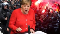 Die deutsche Kanzlerin Angela Merkel (CDU) zeigte Verständnis für empörte Bürger, die nach der tödlichen Messerattacke auf einen 35-jährigen in Chemnitz protestiert hatten. (Bild: AP, AFP, krone.at-Grafik)