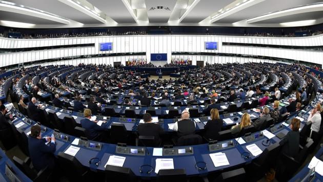 Das Europaparlament in Straßburg an einem normalen Tag, derzeit ist alles menschenleer. (Bild: APA/AFP/Frederick Florin)