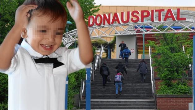 Der kleine Waris wurde nur 17 Monate alt. Nach dem Rottweilerangriff starb er im Donauspital. (Bild: Florian Hitz, Peter Tomschi, krone.at-Grafik)