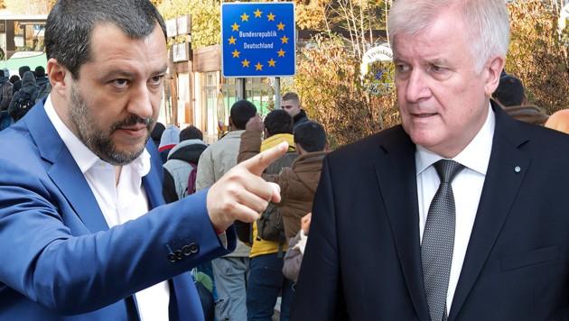 Die Innenminister Horst Seehofer und Matteo Salvini haben in der Frage um die Rücknahme zurückgewiesener Migranten eine Einigung erzielt. (Bild: AP, dpa, APA/dpa, krone.at-Grafik)