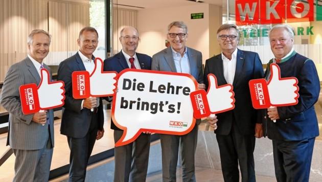 Erfreut über die Lehrlingszahlen: Der steirische Wirtschaftskammer-Präsident Josef Herk (3. von rechts) umringt von Obmännern wichtiger Sparten. (Bild: WKO Steiermark)