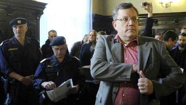 Gottfried Küssel bei einer Berufungsverhandlung im Jahr 2014 (Bild: APA/Herbert Pfarrhofer)
