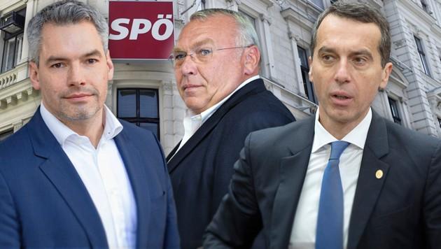 ÖVP-Generalsekretär Karl Nehammer (li.) fordert von SPÖ-Chef Christian Kern in der Causa rund um die Lobbying-Tätigkeiten des Ex-Kanzlers Alfred Gusenbauer rasche Konsequenzen. (Bild: APA/HELMUT FOHRINGER, APA/BARBARA GINDL, ÖVP/Jakob Glaser, AP, krone.at-Grafik)