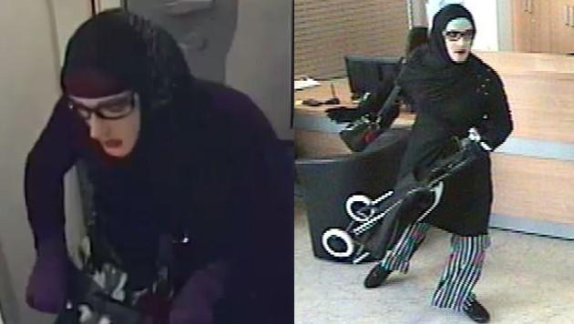 Eine Prämie von 2000 Euro gibt es für Hinweise auf den Burka-Räuber, der auch in Linz eine Bank überfiel. (Bild: LPD Wien)