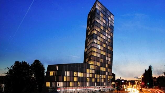 """So soll das neue Amedia-Hotel """"The Rock"""" an der Ost-Einfahrt zu Graz aussehen (Bild: Amedia)"""