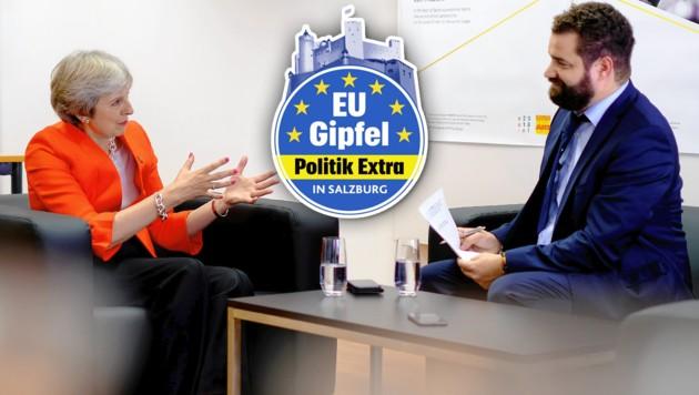 """Theresa May stellte sich den Fragen von """"Krone""""-Journalist Clemens Zavarsky. (Bild: Joel Rouse, """"Krone""""-Grafik, krone.at-Grafik)"""