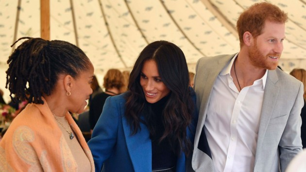Doria Ragland, Herzogin Meghan und Prinz Harry (Bild: AP)