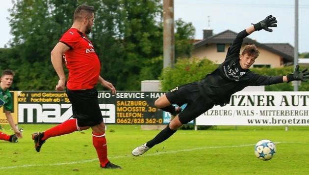 Zählte nicht: Tosunovic traf für St. Georgen aus Abseitsposition, so gewann Grünau 1b noch mit 2:1. (Bild: Daniel Krug jun.)