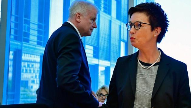 Innenminister Horst Seehofer und die frühere Bamf-Chefin Jutta Cordt (Bild: APA/AFP/TOBIAS SCHWARZ)