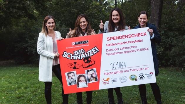 Anna Weihmann (Purina PetCare Österreich), Sasa Schwarzjirg, Maggie Entenfellner, Gisèle Mugny (Purina PetCare Österreich) (Bild: Purina PetCare Austria/David Pan)