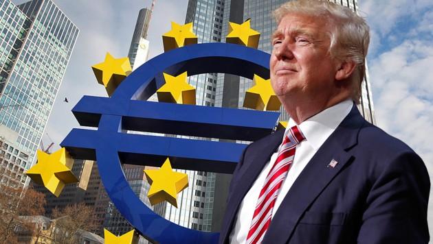 Während US-Präsident Donald Trump an den Erfolg seiner Zollpolitik glaubt, hat eine Simulation der EZB ergeben, dass die USA in einem Handelskrieg der größte Verlierer wären. (Bild: APA/AFP/Daniel ROLAND, AP, krone.at-Grafik)