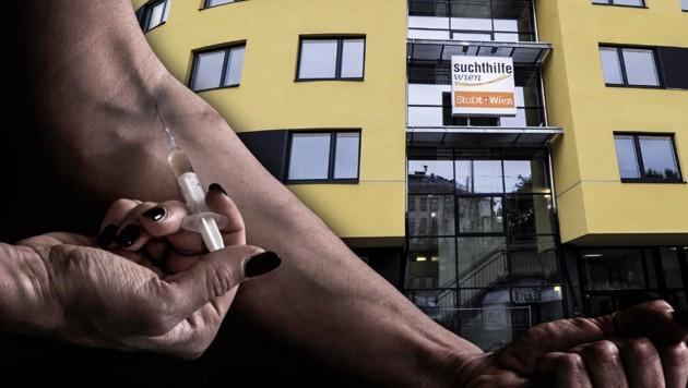 Rund um das Suchthilfezentrum am Gürtel in Mariahilf sorgt die Drogenszene immer wieder für Wirbel. (Bild: APA/ROLAND SCHLAGER, stock.adobe.com, krone.at-Grafik)