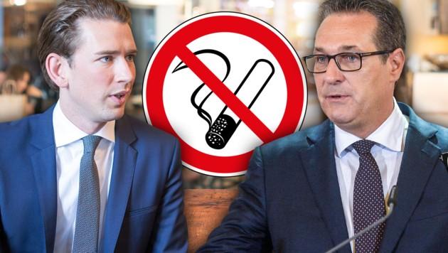 Bundeskanzler Sebastian Kurz (ÖVP) ist Nichtraucher, Vizekanzler Heinz-Christian Strache (FPÖ) greift regelmäßig zur Zigarette. (Bild: APA/HERBERT PFARRHOFER, APA/JAKOB GLASER, stock.adobe.com, krone.at-Grafik)