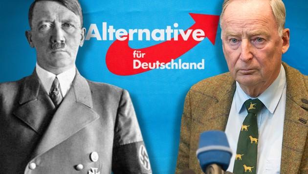 Historiker glauben, dass sich AfD-Chef Alexander Gauland bei einer Rede von Adolf Hitler aus dem Jahr 1933 bedient haben soll. (Bild: AFP, Wikipedia, krone.at-Grafik)