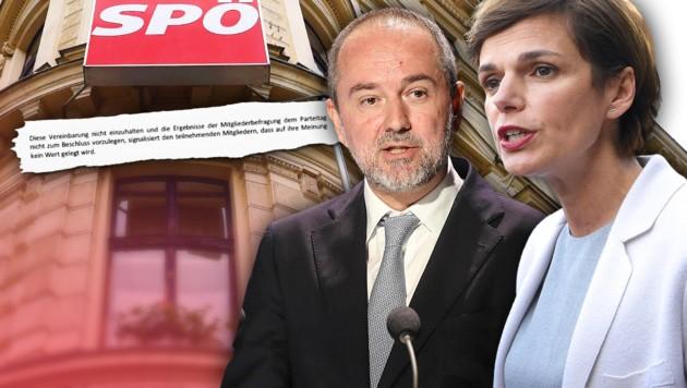 Die neue Parteichefin Pamela Rendi-Wagner und Geschäftsführer Thomas Drozda versuchen die Wogen zu glätten. Kein leichtes Unterfangen angesichts der heftigen Kritik am Kippen der Parteireform. (Bild: APA/HELMUT FOHRINGER, APA/NEUMAYR/MMV, APA/ROLAND SCHLAGER, SPÖ Alsergrund, krone.at-Grafik)