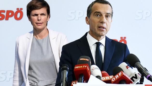Ex-Parteichef Christian Kern und seine Nachfolgerin Pamela Rendi-Wagner (Bild: APA/HANS PUNZ, APA/ROLAND SCHLAGER, krone.at-Grafik)