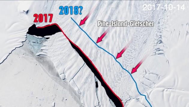 Der neue Riss (blau) und die Abbruchkante (rot) des Eisberges von 2017 (Bild: Delft University of Technology/Stef Lhermitte, krone.at-Grafik)