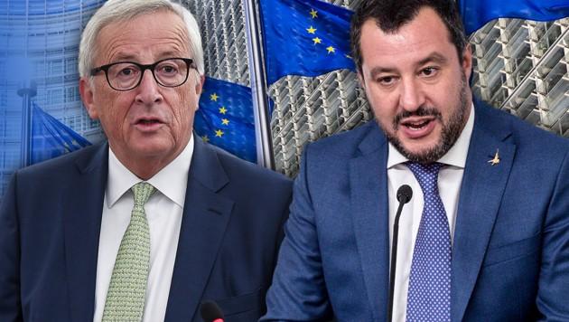 EU-Kommissionspräsident Jean-Claude Juncker, Italiens Innenminister Matteo Salvini
