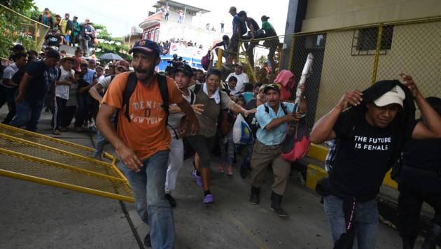 Honduranische Flüchtlinge stürmen die Grenze zu Mexiko. (Bild: AFP or licensors)
