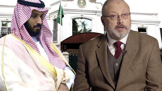 Der saudische Kronprinz Mohammed bin Salman (li.) wird als Auftraggeber der Ermordung von Jamal Khashoggi vermutet. (Bild: APA/AFP/RIA NOVOSTI/Alexey NIKOLSKY, AP, krone.at-Grafik)