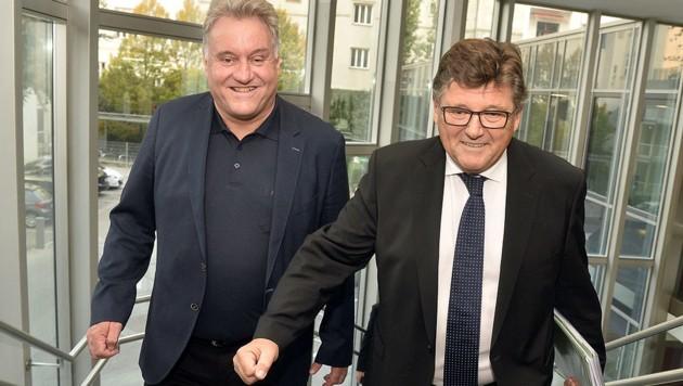 Arbeitnehmer-Chefverhandler PRO-GE-Chef Rainer Wimmer (rechts) und Karl Dürtscher (Bild: APA/Herbert Pfarrhofer)
