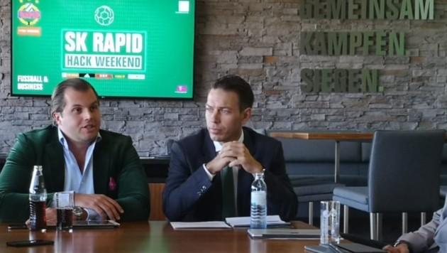 Diamir-Holding-Geschäftsführer Lorenz Edtmayer und Rapid-Geschäftsführer Christoph Peschek