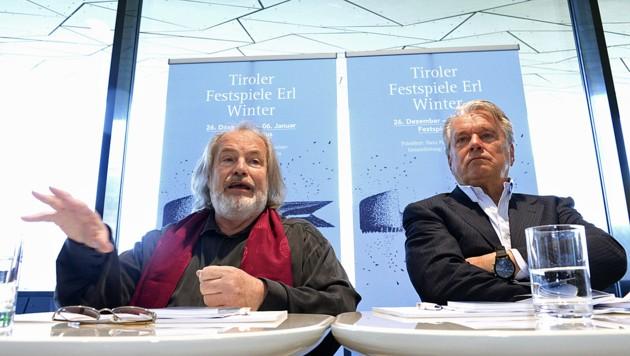 Hans-Peter Haselsteiner hat bereits einen Nachfolger für den unter Missbrauchsverdacht geratenen bisherigen künstlerischen Leiter Gustav Kuhn (links). (Bild: APA/THOMAS BÖHM)
