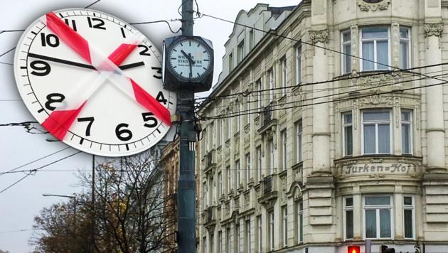 Die Uhr am Gersthofer Platzl ging Mittwochmittag eine Stunde nach.