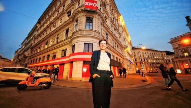Pamela Rendi-Wagner vor der SPÖ-Parteizentrale in der Wiener Löwelstraße (Bild: Reinhard Holl)