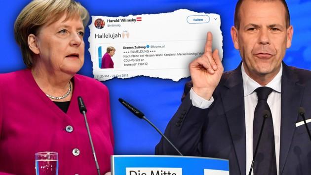 Nach dem desaströsen Abschneiden der CDU bei der Hessen-Wahl hat Bundeskanzlerin Angela Merkel ihren schrittweisen Rückzug aus der Politik angekündigt - ganz nach dem Geschmack des FPÖ-Europaabgeordneten Harald Vilimsky. (Bild: AFP, twitter.com, krone.at-Grafik)