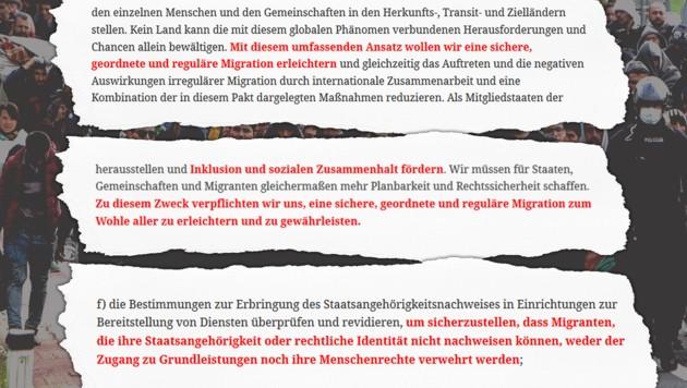 """Mit dem Pakt will die UNO eine """"geordnete Migration zum Wohle aller"""" erreichen. Zuwanderer sollen auch ohne Dokumente Zugang zu Sozialleistungen haben. (Bild: un.org, AFP, krone.at-Grafik)"""