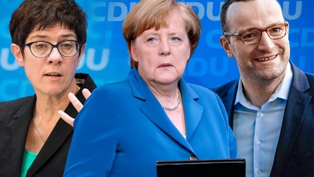 Wer schafft es nach Angela Merkel an die Spitze der CDU? Annegret Kramp-Karrenbauer (li.) und Jens Spahn stehen für verschiedene Richtungen. (Bild: APA/AFP/Odd ANDERSEN, AFP, AP, EPA/CLEMENS BILAN, krone.at-Grafik)