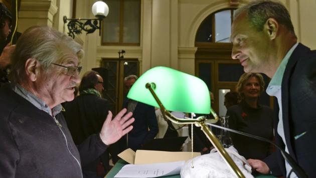 Peter Turrini und der EU-Spitzenkandidat der SPÖ, Andreas Schieder