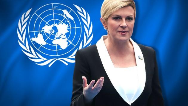 """""""Seien Sie sicher, dass ich das Abkommen von Marrakesch nicht unterzeichnen werde"""", teilte die kroatische Staatspräsidentin Kolinda Grabar Kitarovic mit. (Bild: AFP, United Nations, krone.at-Grafik, stock.adobe.com)"""
