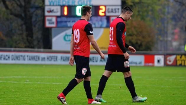Marcel Probst und Marco Oberst nach Anifs 1:2 gegen Dornbirn.