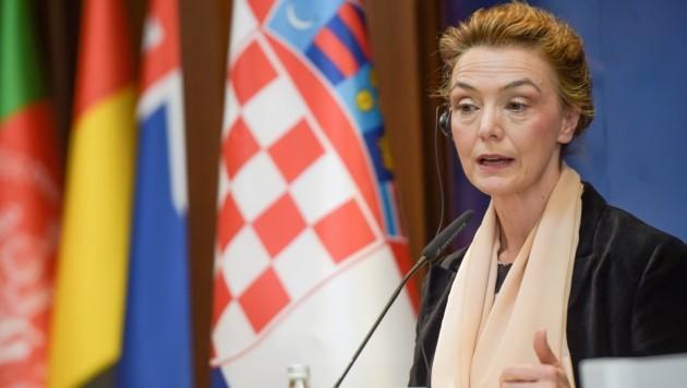 Kroatiens Außenministerin Marija Pejcinovic Buric (Bild: APA/AFP/Armend NIMANI)