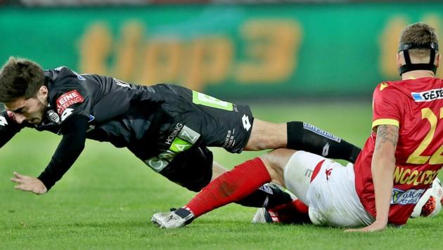 Steckt Sandro Ingolitsch (re.) bald im Sturm-Trikot? (Bild: GEPA)