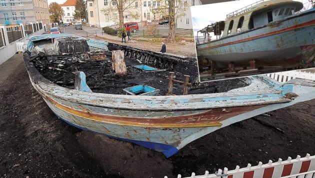 Ausgebranntes Flüchtlingsboot in Wittenberg (D), das Original-Boot (kl. Foto). (Bild: AFP/FH Salzburg, Ebner)