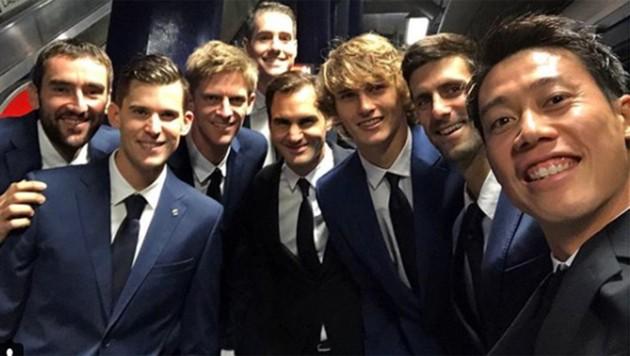 Cilic, Thiem, Anderson, Isner, Federer, Zverev, Djokovic und Nishikori (von li. nach re.)