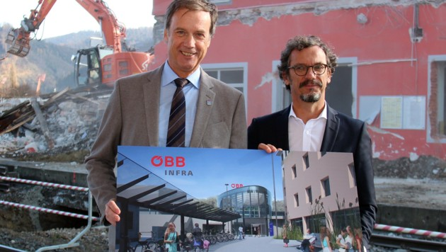 Der Kapfenberger Bürgermeister Friedrich Kratzer (links) und ÖBB-Projektleiter Klaus Schneider