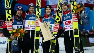 Stefan Kraft, Daniel Huber, Clemens Aigner und Michael Hayböck (Bild: GEPA)