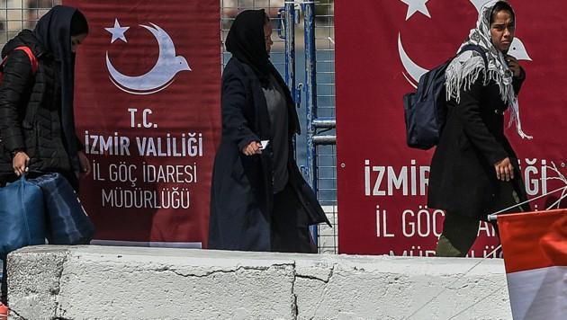 Aus Griechenland in die Türkei abgeschobene Flüchtlinge (Bild: AFP)