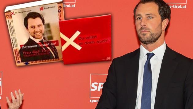 """""""Du willst es doch auch"""": Mit diesem Slogan wollte Georg Dornauer im Tiroler Landtagswahlkampf Gratis-Kondome verteilen. (Bild: Privat, APA/EXPA/ERICH SPIESS, krone.at-Grafik)"""